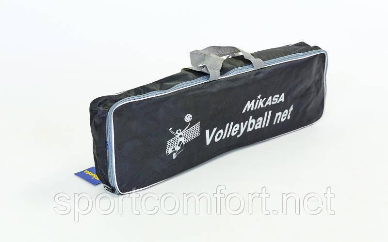 Сетка для волейбола Mikasa (PP 4мм, р-р 9,5x1м, ячейка 12x12см, с метал. тросом) C-6390