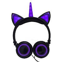 Навушники LINX Unicorn Ear Headphone з вушками Єдиноріг LED Чорно-Фіолетовий (SUN2995)