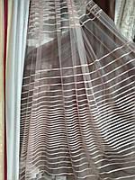 Модная фатиновая тюль в полоску п-во Турция пудра, фото 1