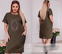 Льняное платье украшено стразами,  с 50-64 размер, фото 1