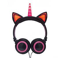 Навушники LINX Unicorn Ear Headphone з вушками Єдиноріг LED Чорно-Рожевий (SUN2997)