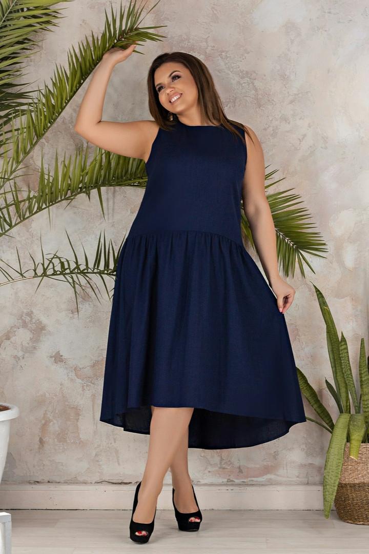 """Льняное асимметричное платье """"Валенсия"""" с заниженной талией (большие размеры)"""