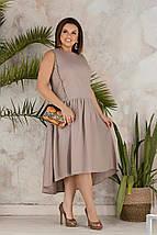 """Льняное асимметричное платье """"Валенсия"""" с заниженной талией (большие размеры), фото 2"""