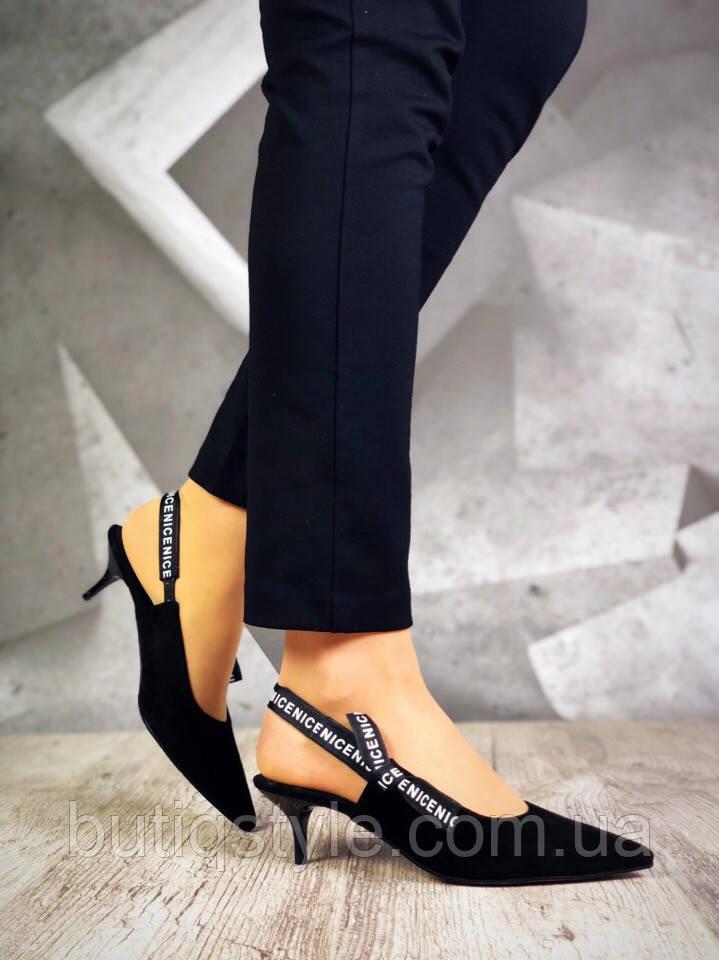 36 размер Женские черные туфли  D!!!or с открытой пяточкой на каблуке натуральная замша,  2019