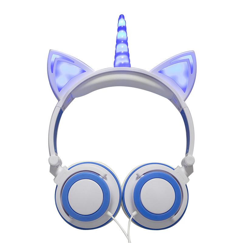 Навушники LINX Unicorn Ear Headphone з вушками Єдиноріг LED Біло-Блакитний (SUN2999)