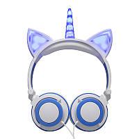 Навушники LINX Unicorn Ear Headphone з вушками Єдиноріг LED Біло-Блакитний (SUN2999), фото 1