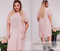 Льняное летнее платье украшено стразами,  с 50-64 размер, фото 1