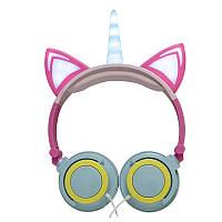 Навушники LINX Unicorn Ear Headphone з вушками Єдиноріг LED Рожево-Блакитний (SUN4191)
