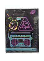 """Папка на резинках """"Retro party 80's"""" А4 Penny 34х26см Черный, Голубой, Фиолетовый"""