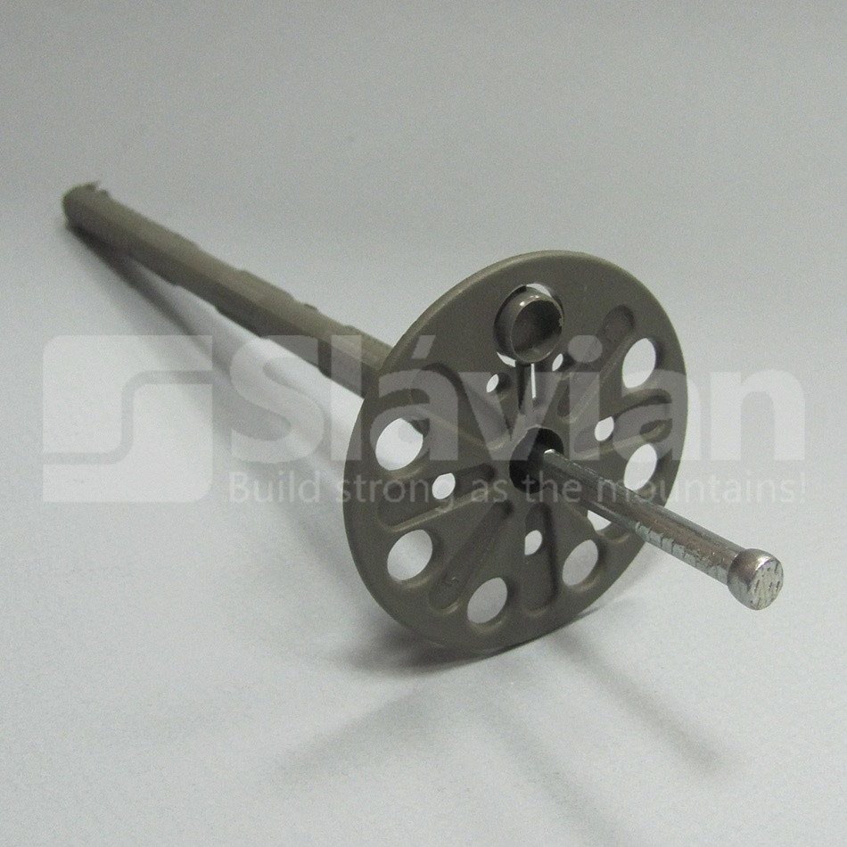 Дюбель крепления теплоизоляции 10х120мм,  металлический гвоздь и термозаглушка