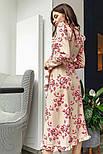 Цветочное платье на запах с оборками бежевое, фото 3