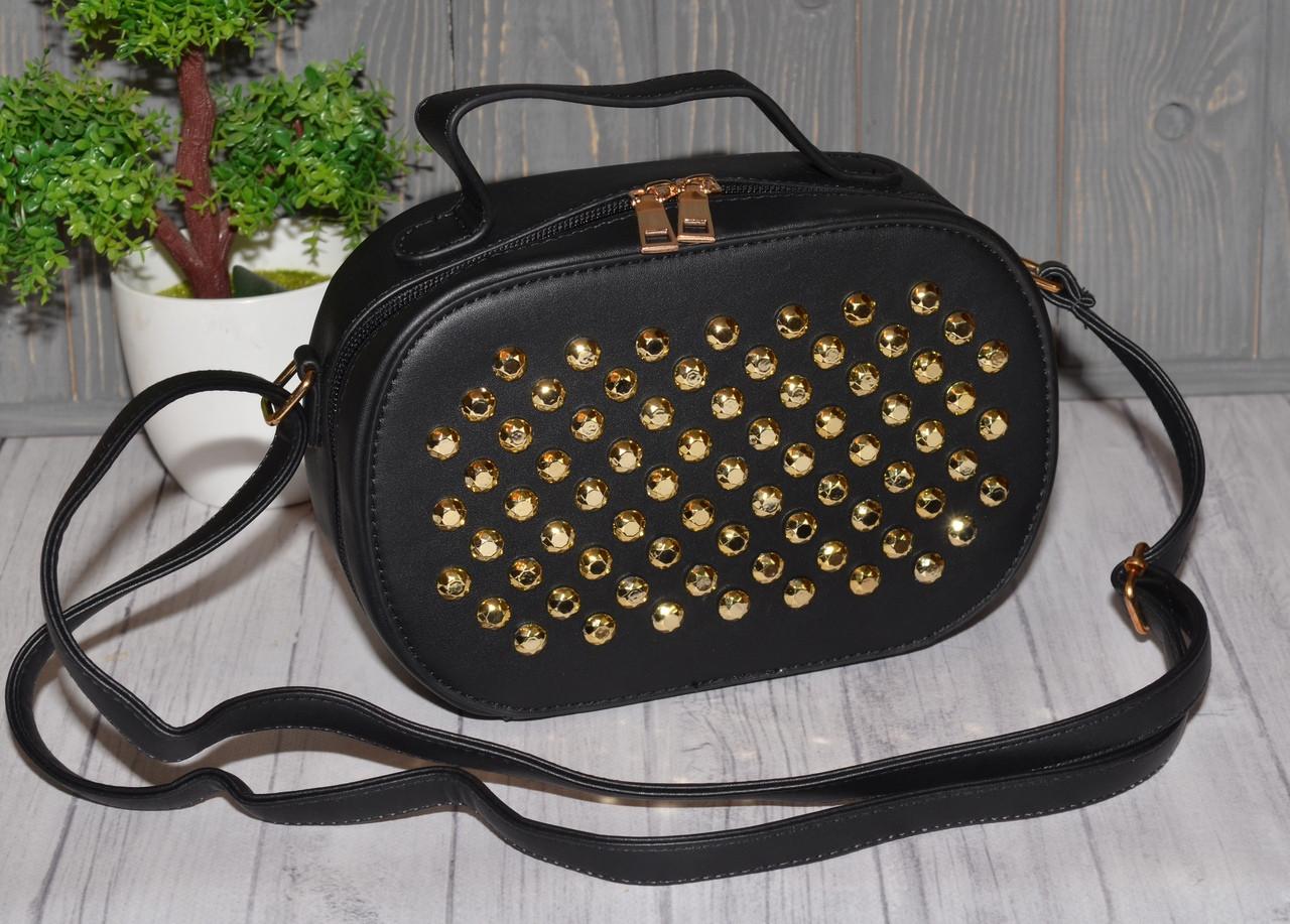 6aaa77200b36 Черная женская сумка в заклепках - Интернет-магазин