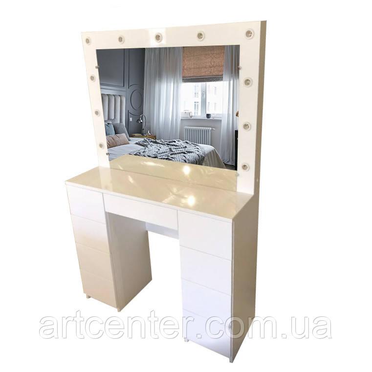 Стол для визажиста с зеркалом, туалетный столик с фасадами МДФ, стол визажный
