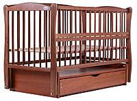 Кровать Babyroom Еліт резьба маятник, ящик, откидной бок DER-7  бук тик, фото 1