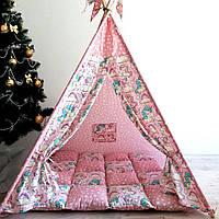 """Вигвам, детская палатка KatyPuf """"Розовые Единороги"""" + коврик объемный"""