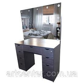 Стол для визажиста с зеркалом, туалетный столик коричневый, визажный стол