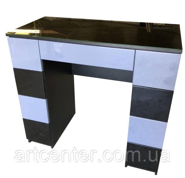 Стол для визажиста глянцевый, туалетный столик черный, визажный стол