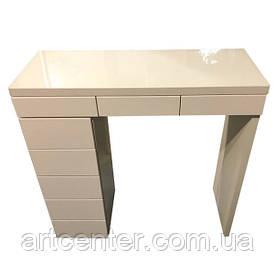 Стол для визажиста глянцевый, туалетный столик бежевый, визажный стол