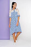 Стильное платье рубашка асимметричное полуоблегающее короткий кружевной рукав полоска голубое