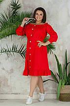 """Льняное платье-халат """"Варя"""" с оголенными плечами (большие размеры), фото 2"""