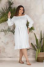 """Льняное платье-халат """"Варя"""" с оголенными плечами (большие размеры), фото 3"""