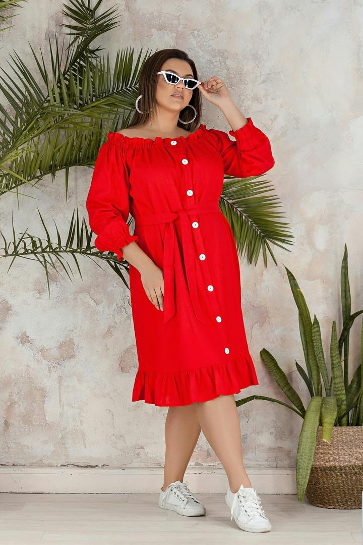 """Льняное платье-халат """"Варя"""" с оголенными плечами (большие размеры)"""