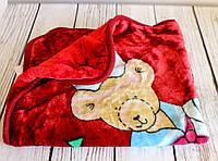 """Плед детский с капюшоном """"Мишка моряк"""", в коляску для прогулок и для дома. Бордовый"""