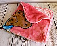 """Плед детский с капюшоном """"Мишка моряк"""", в коляску для прогулок и для дома. Розовый"""