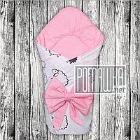 Летний конверт одеяло плед 80х80 на лето детский на выписку новорожденных из роддома тонкий 4704 Розовый