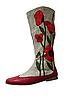 """Обувь из конопли. Сапожки женские Лаура с аппликацией """"Маки"""""""