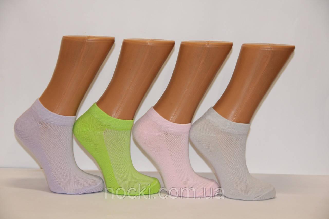 Короткие женские носки патик в сеточку  х/б Ф8