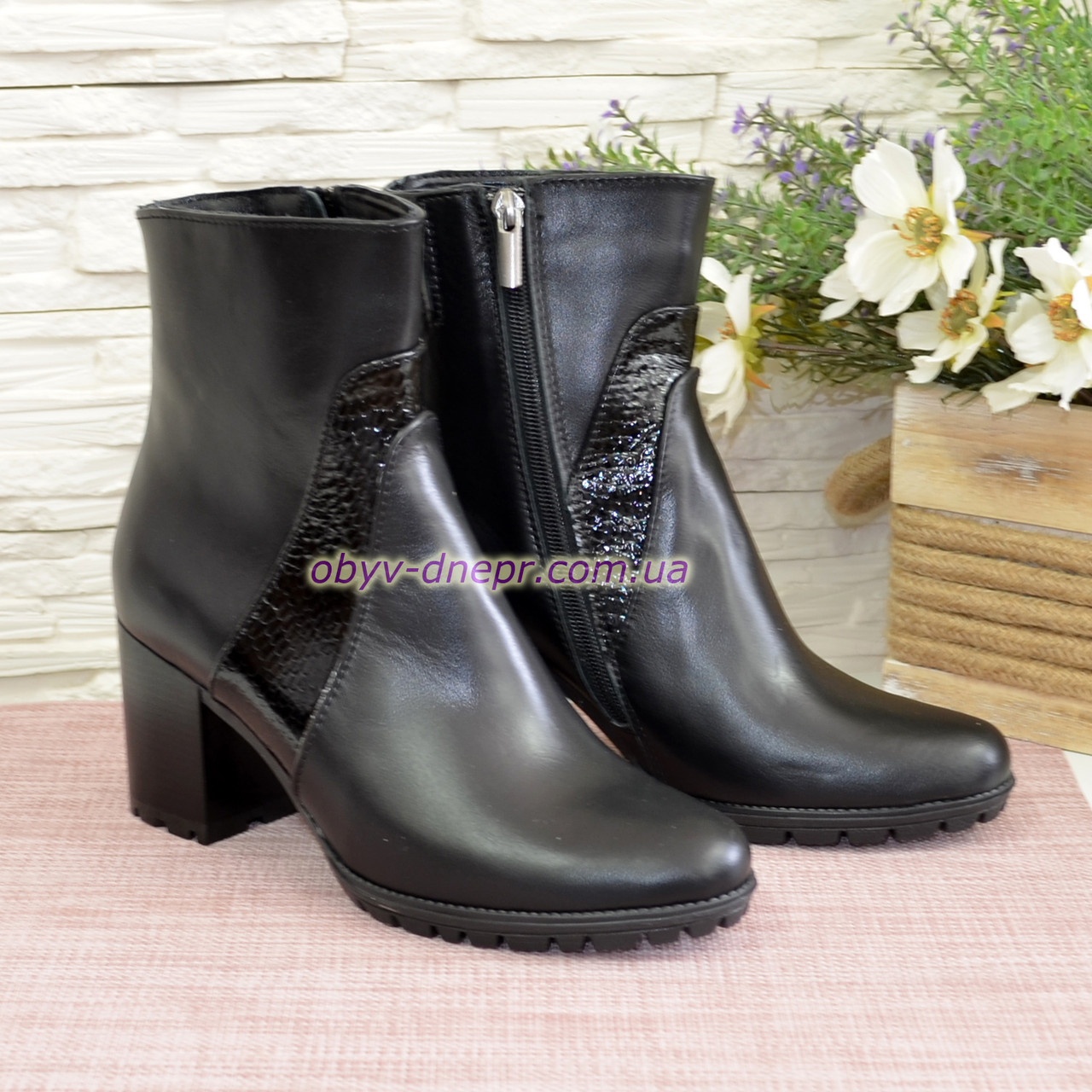 Ботинки женские зимние на устойчивом каблуке