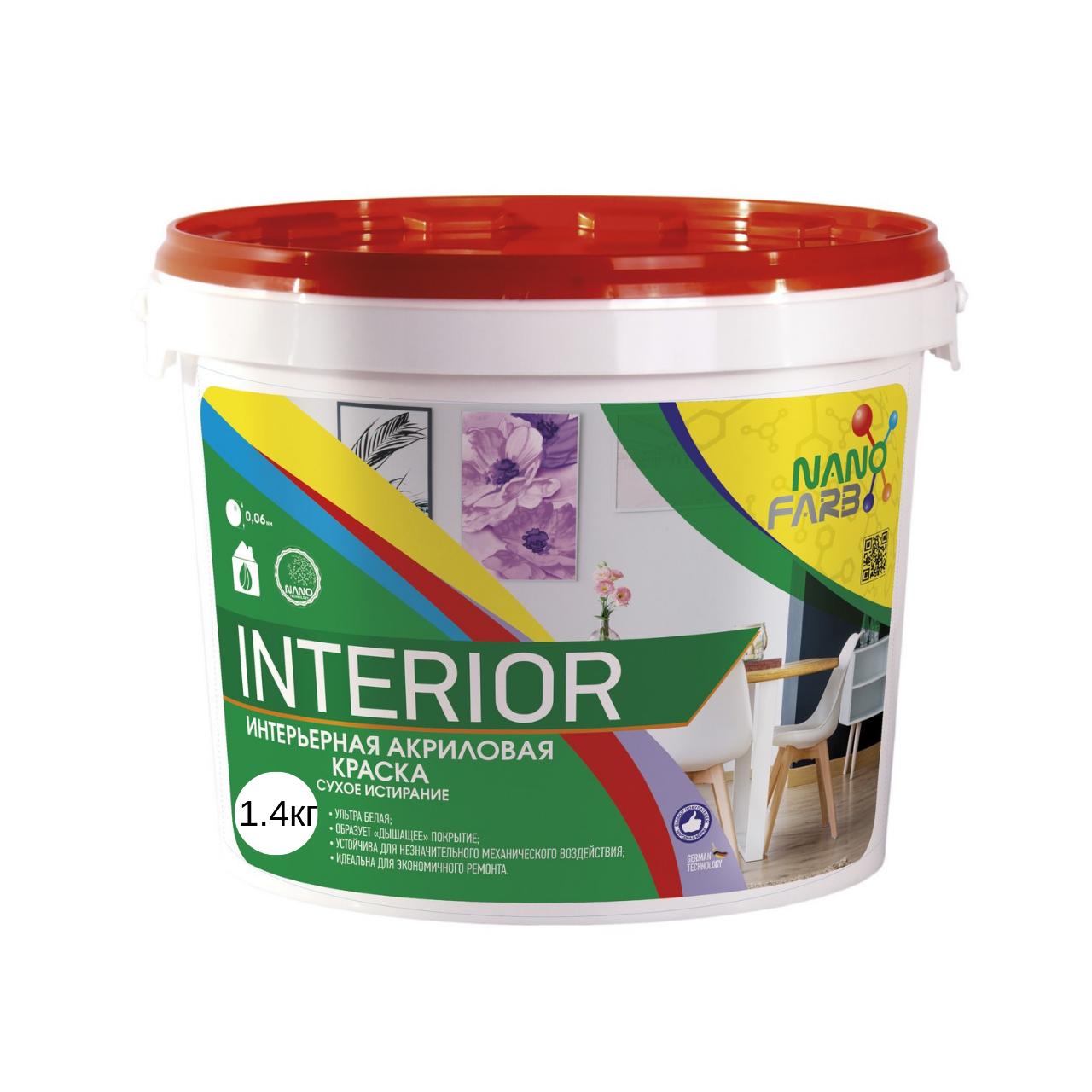 Интерьерная краска для стен и потолка Nanofarb Interior 1.4кг (Нанофарб Интериор)