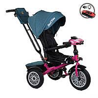 Велосипед трехколесный с родительской ручкой и пультом Best Trike Джинсовый 360° ПОВОРОТНОЕ СИДЕНИЕ 9288В-4265