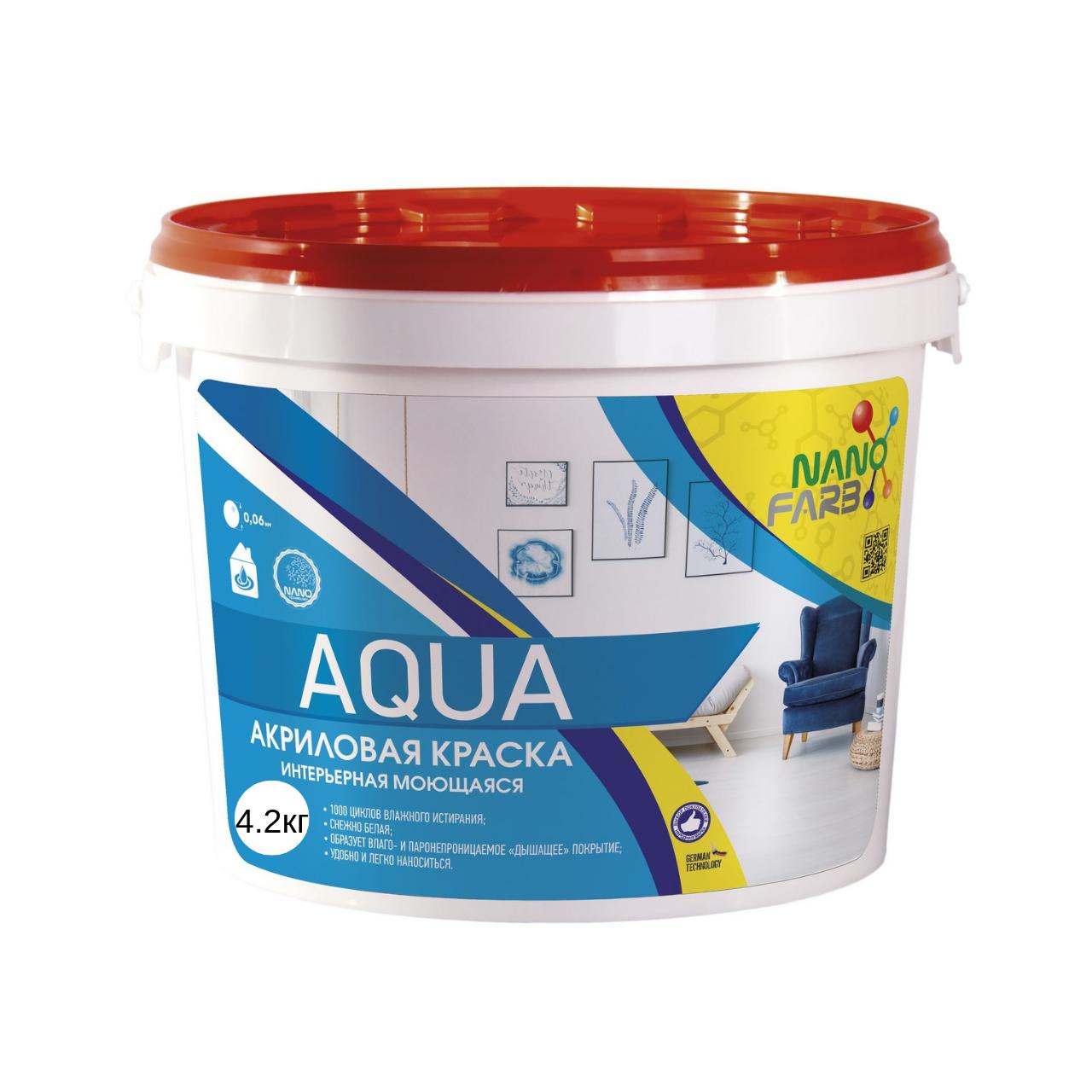 Интерьерная краска для стен и потолка Nanofarb Aqua 4.2кг (Нанофарб Аква)