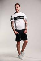Футболка Calvin Klein + шорты с лампасами мужские летние стильные, цвет белый, фото 1