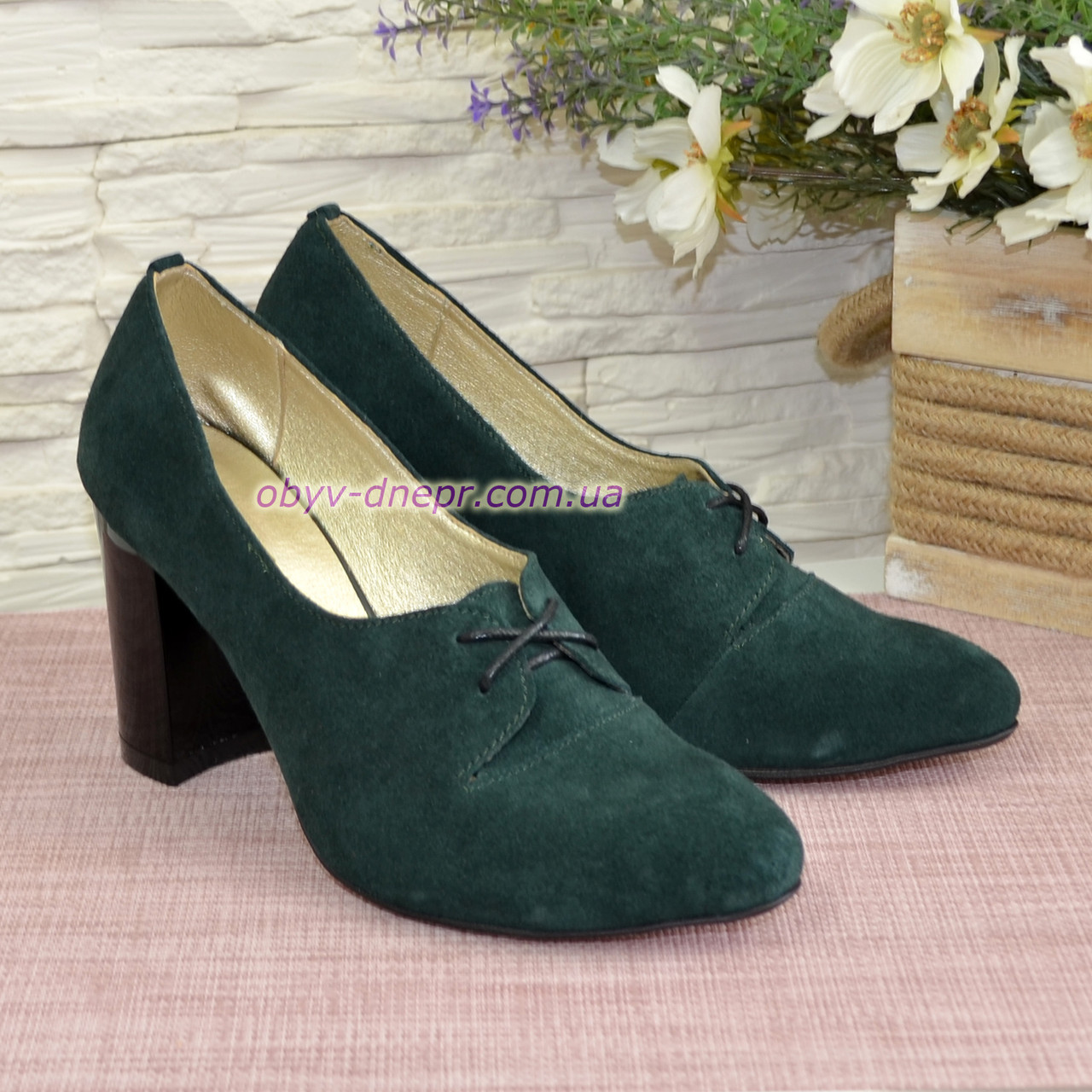 Туфли женские замшевые на высоком каблуке, цвет зеленый