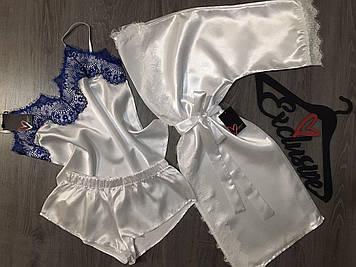 Белый атласный комплект с халатом, женская пижама атласная
