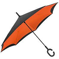 Зонт трость с обратным складыванием 117см*83см Оранжевый