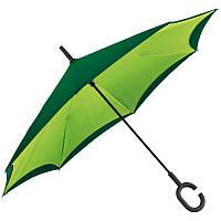 Зонт трость с обратным складыванием 117см*83см Зеленый