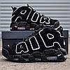 Мужские кроссовки Nike Air More Uptempo черные. Живое фото (Реплика ААА+)