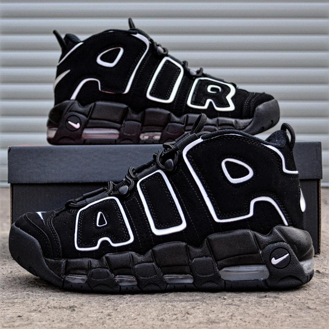 Мужские кроссовки Nike Air More Uptempo черные. Живое фото (Реплика ААА+), фото 1