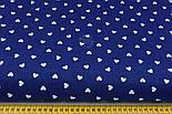 Бязь с белыми редкими сердечками 10 мм на синем фоне  (№ 854а), фото 2