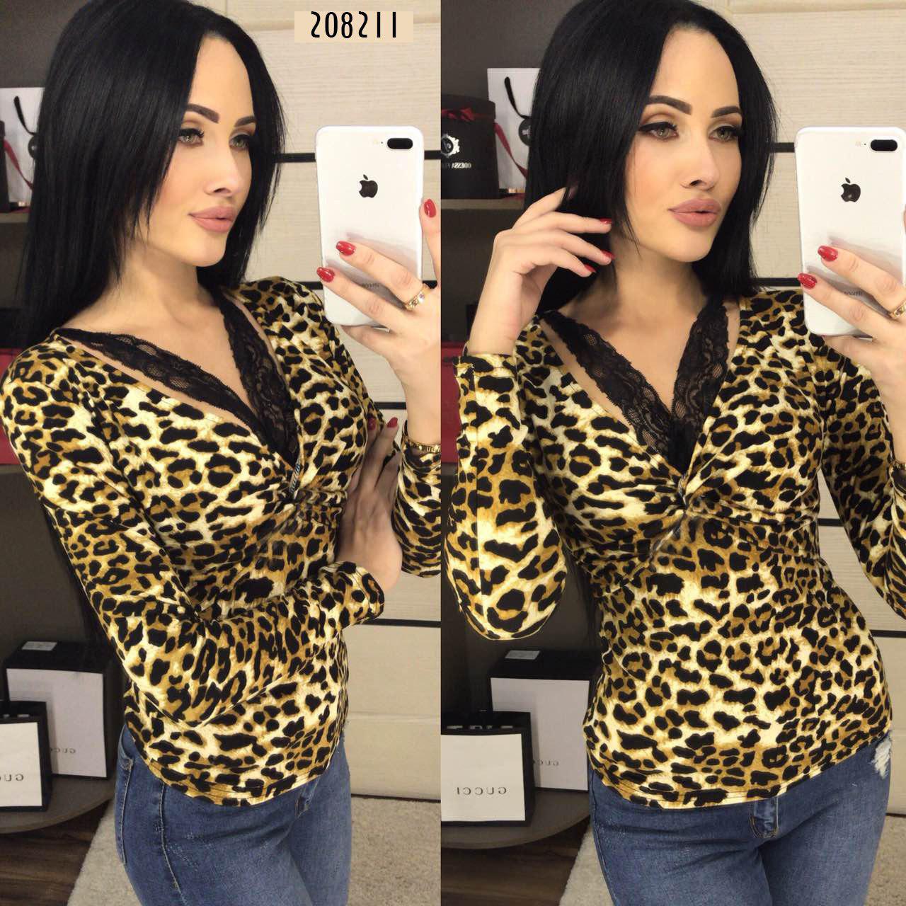 50697081846 Блузка леопардовая с длинным рукавом и кружевом (44-46р)  M-L -  FashionVerdict
