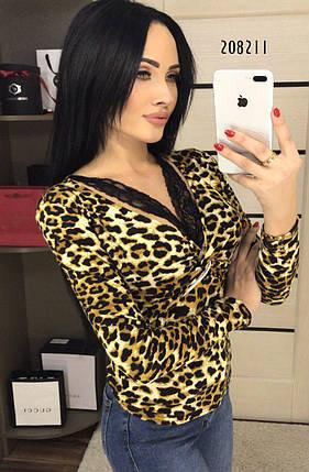 Блузка женская с леопардовым принтом и кружевом  (44-46р)/ M-L, фото 2