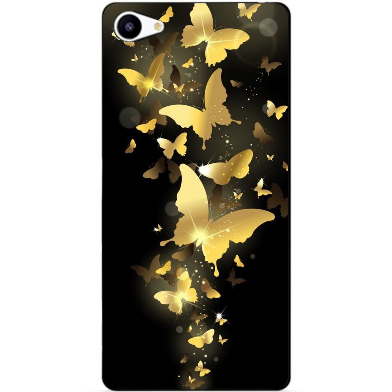 Чехол силиконовый бампер для Meizu U10 с рисунком Золотая бабочка