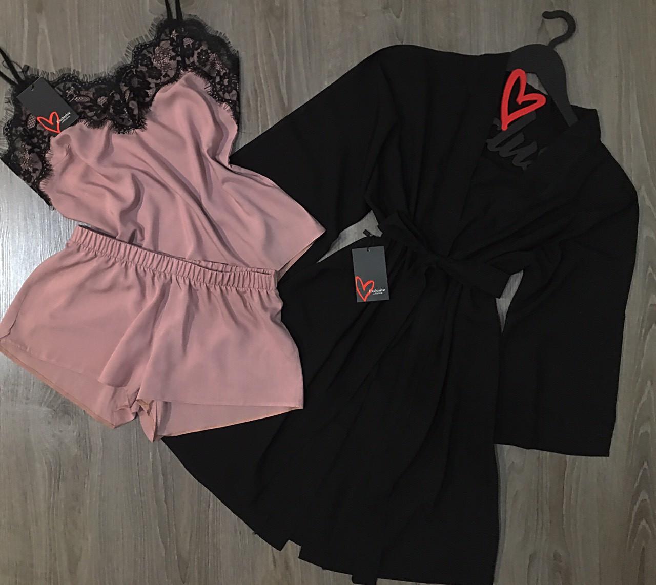 Черно-бежевый хлопковый комплект халат и пижама.