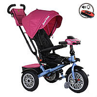 Велосипед трехколесный с родительской ручкой и пультом Best Trike Розовый 360° ПОВОРОТНОЕ СИДЕНИЕ 9288В - 6877