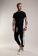Футболка + штани з лампасами чоловіча річна стильна, колір чорний