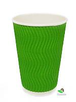 Гофростакан 250 мл зелёный, 20 шт